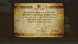 Carta de Rodin a Bayonetta sobre su participación en un 'club de lucha' en Bayonetta 2 (Nintendo Switch)