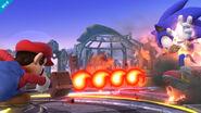 Mario atacando a Sonic con la Barrera de fuego SSB4 (Wii U)