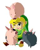 Pegatina de Link y cerdos SSBB