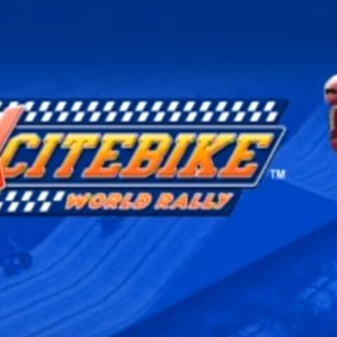 Pantalla de título de <i>Excitebike: World Rally</i>, donde aparece el modelo de motociclista usado en <i>Super Smash Bros. 4</i>.
