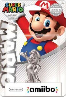 Embalaje del amiibo de Mario plateado (serie Mario)