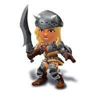 Artwork de la Espadachína Mii con el casco y malla de cazador