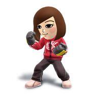 Artwork del Karateka Mii mujer con el Pantalón de chándal con sudadera roja