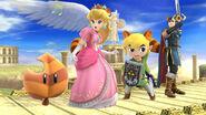 Peach, Toon Link y Marth bajo los efectos de la Superhoja SSB4 (Wii U)