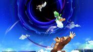 Pit, Yoshi y Donkey Kong siendo absorbidos por un Agujero negro SSBU