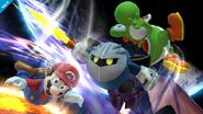 Meta Knight atacando a Mario y Yoshi SSB4 (Wii U)