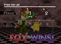 Pose de victoria de Fox (3-3) SSB