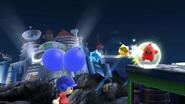 Destello rojo atacando al Aldeano SSB4 (Wii U)