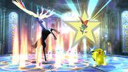 Pikachu junto a Xerneas y Victini en la Liga Pokemon SSB4 (3DS)