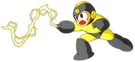 Artwork de Mega Man usando el Thunder Beam en Mega Man