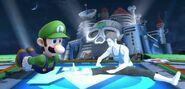 Luigi y la Entrenadora de Wii Fit en Wily Castillo SSB4 (Wii U)