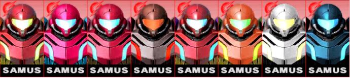 Paleta de colores de Samus SSB4 (3DS)