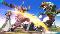 Zelda viendo a Fox ser atacado por un Espectro SSB4 (Wii U)