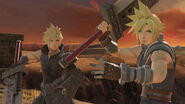 Cloud con su aspecto normal y su traje alternativo SSBU