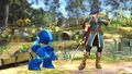 Marth después de haber usado Rompeescudos contra Mega Man SSB4 (Wii U)