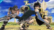 Pit Sombrío, Palutena y Magno en el Templo de Palutena SSB4 (Wii U)