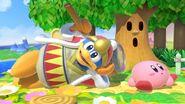 Rey Dedede junto a Kirby en Pradera Verde SSBU