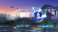 Espadachín Mii usando Asalto aéreo SSB4 (Wii U)