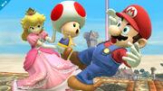 Peach usando a Toad en Super Smash Bros. (Wii U)