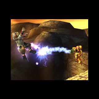 Samus usando su Agarre Aéreo para atacar en <i>Super Smash Bros. Brawl</i>.