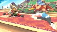 Entrenadora de Wii Fit junto a Fox SSB4 (Wii U)