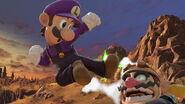 Luigi atacando a Wario SSBU