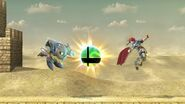Meta Knight y Roy junto a una Bola Smash falsa SSBU