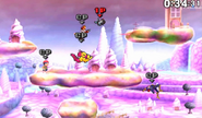 Flying Men haciendo una plancha voladorea en Magicant en SSB4 (3DS)