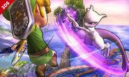 Mewtwo usando su ataque aéreo hacia adelante contra Toon Link SSB4 (3DS)