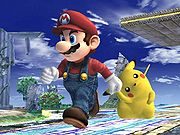 Mario caminando en Super Smash Bros. Brawl
