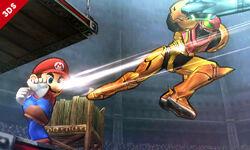 Mario y Samus en el Coliseo de Regna Ferox SSB4 (3DS)