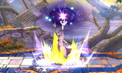 Ataque Smash hacia arriba Mewtwo (2) SSB4 (3DS)