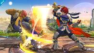 Roy atacando a Captain Falcon SSB4 (Wii U)