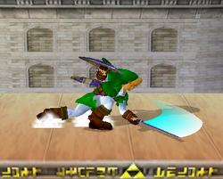Ataque Smash hacia abajo de Link (1) SSBM