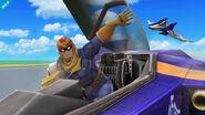 Captain Falcon saliendo del Blue Falcon SSB4 (Wii U)