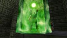 Link usando Viento de Farore en TLoZ Ocarina of Time