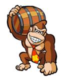 Pegatina de Donkey Kong con el barril SSBB