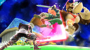 Shulk atacando a Link y Donkey Kong en Mario Galaxy SSB4 (Wii U)