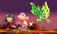 Karateka Mii y Aldeana junto al Rey de las Tinieblas SSB4 (3DS)