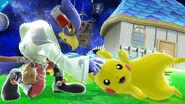 Pikachu y Falco en la Galaxia Mario SSB4 (Wii U)