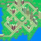 Vista aérea de Fourside en EarthBound