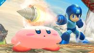Mega Man atacando a Kirby con su Crash Bomber SSB4 (Wii U)