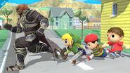 Ganondorf, Toon Link, Ness y el Aldeano en Onett SSB4 (Wii U)