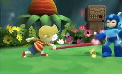 Lucas agarrando a Mega Man en el Gran ataque de las Cavernas
