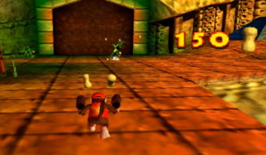 Diddy Kong usando la Cacahuetola en Donkey Kong 64