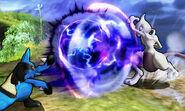 Mewtwo y Lucario en Llanuras de Gaur SSB4 (3DS)
