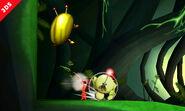 Olimar junto a un escarabajo de oro iridiscente SSB4 (3DS)