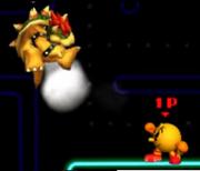 Pac-Man Usando Su Lanzamiento Delantero Contra Bowser SSB 3DS