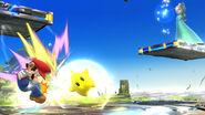 Estela atacando a Mario con Destello SSB4 (Wii U)