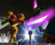 Samus y Link luchando con espadas láser SSBM